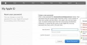 Apple ID - Password reset screen