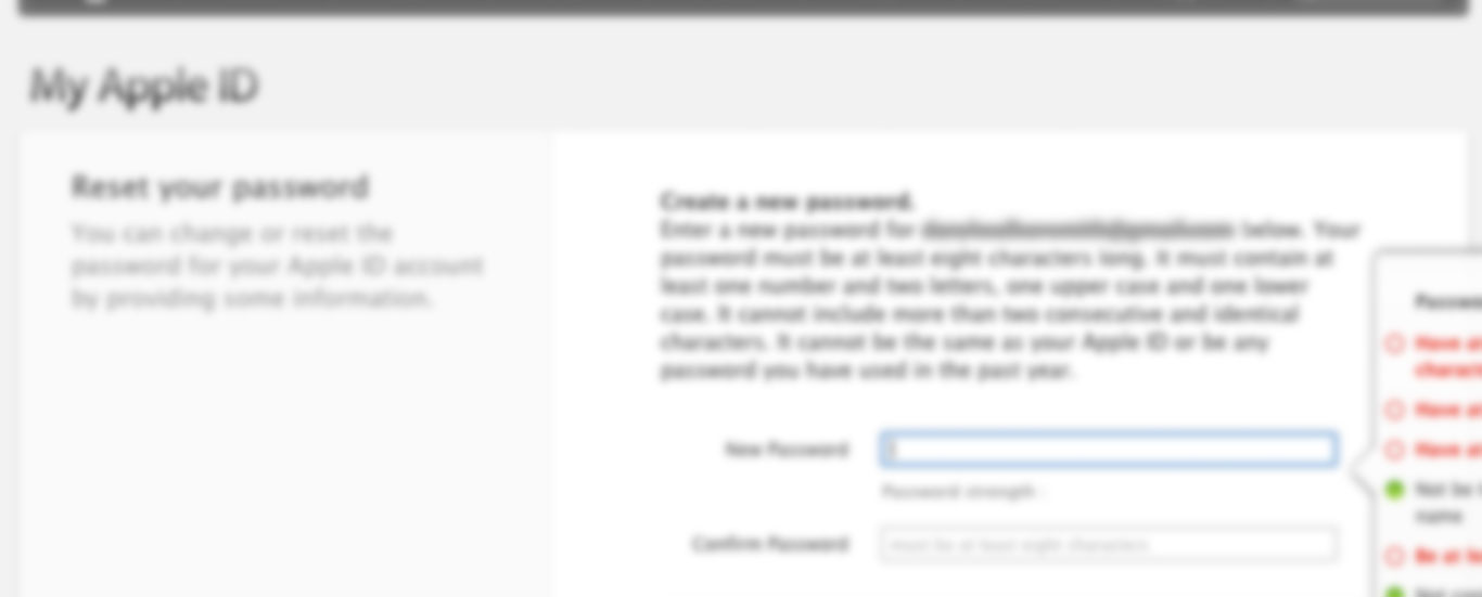 Apple ID - Password reset screen